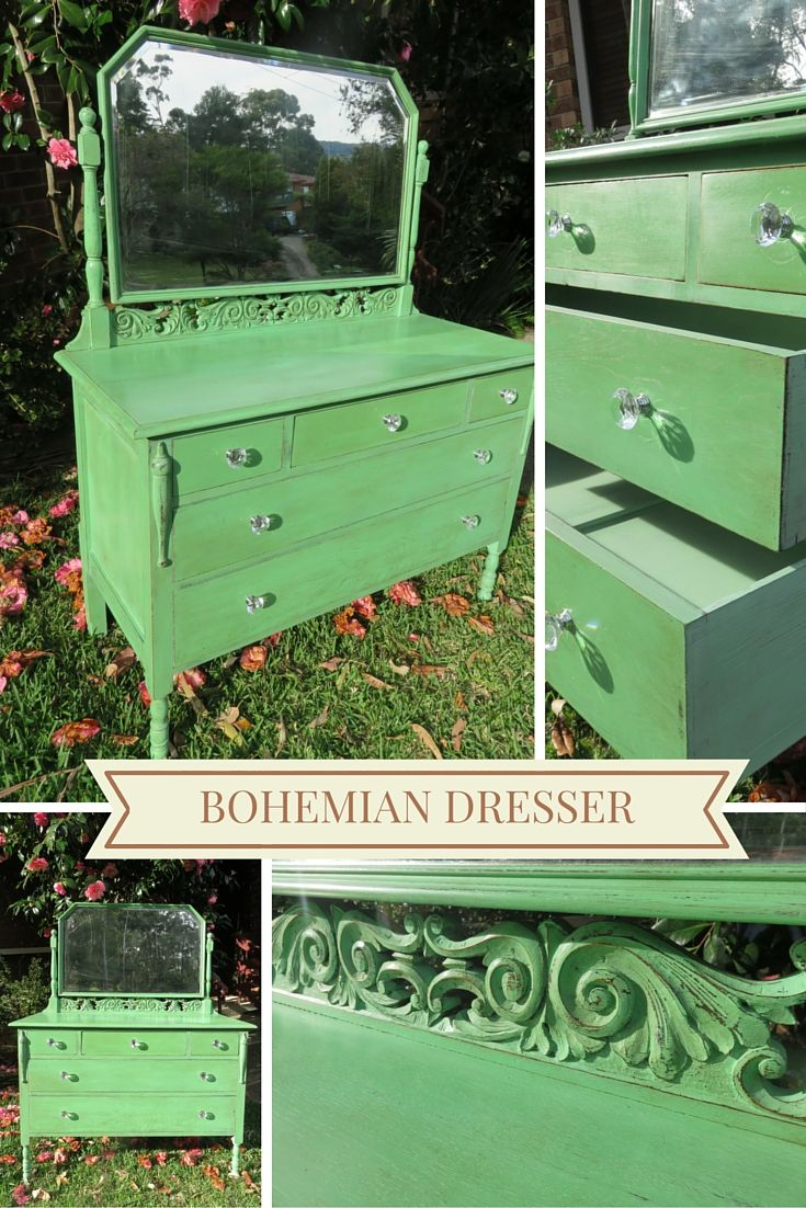 Unfortunately I don't have a before picture but this antique dresser was originally stained a very dark chocolate brown. It's been totally transformed with a custom mix combination of Provence and Antibes Green chalk paint.