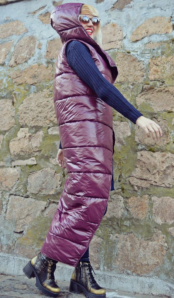 SUN SALE 25% OFF Purple Padded Hooded Vest / Extravagant