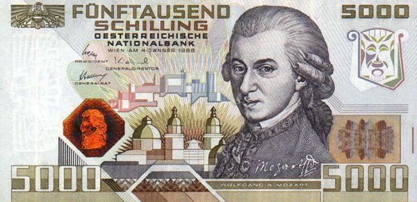 Австрийскую купюру  5000 шиллингов,  1988 года, украшает портрет Вольфганга Амадея Моцарта (1756–1791 музыкальные способности у него проявились в раннем возрасте, когда ему было около трех лет, все современники отмечали его феноменальный музыкальный слух и память. Он не только композитор, но и пианист, скрипач, клавесинист, органист, капельмейстер. Банкнота Моцарта стала первой в мире, на которой применили в качестве защитного средства от подделок кинеграмму
