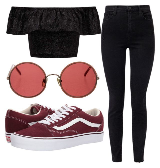 """Red & Burgundy"" by liaperezmorales on Polyvore featuring J Brand, Miss Selfridge, Vans and Sunday Somewhere"