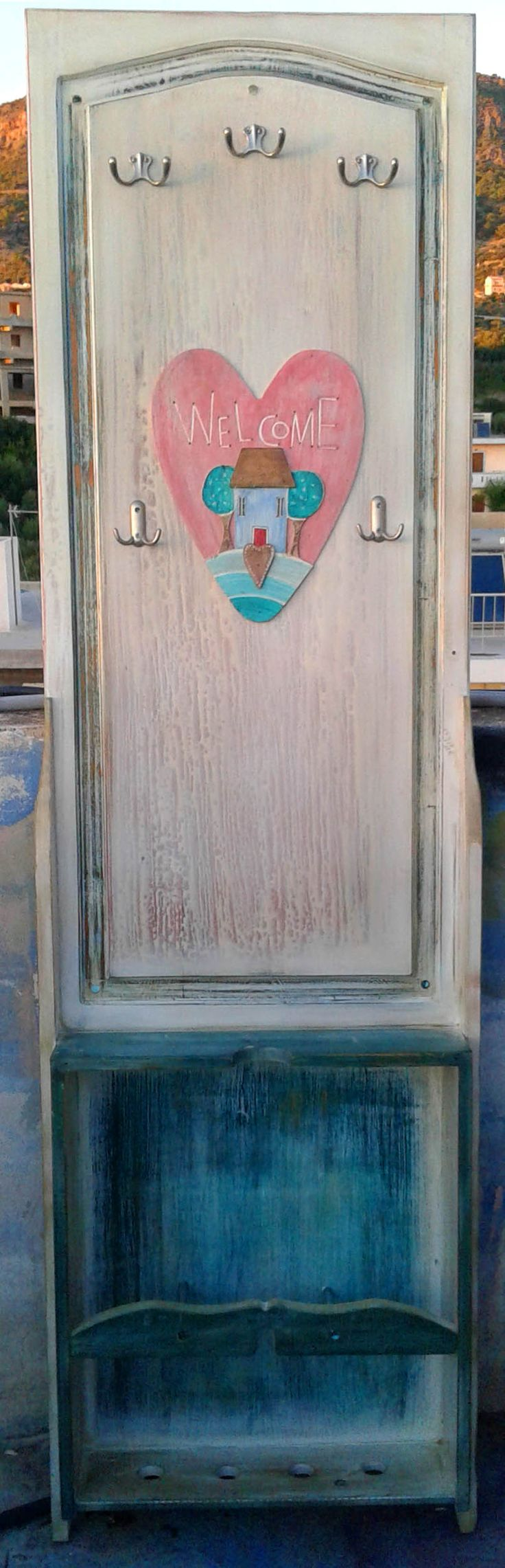 port manto made from a draw and a door.heart ,house handmade