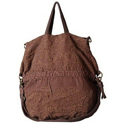 36 ROSE™  Embroidered, Canvas tote shoulder bag Coffee