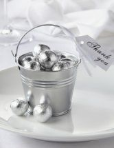 Silver Tin Favor Pail great for tables at a silver wedding anniversary party