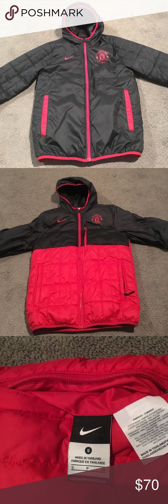 Nike Manchester United training jacket Manchester United training jacket that is reversible, one side is all black and the other is black and red Nike Jackets & Coats Utility Jackets