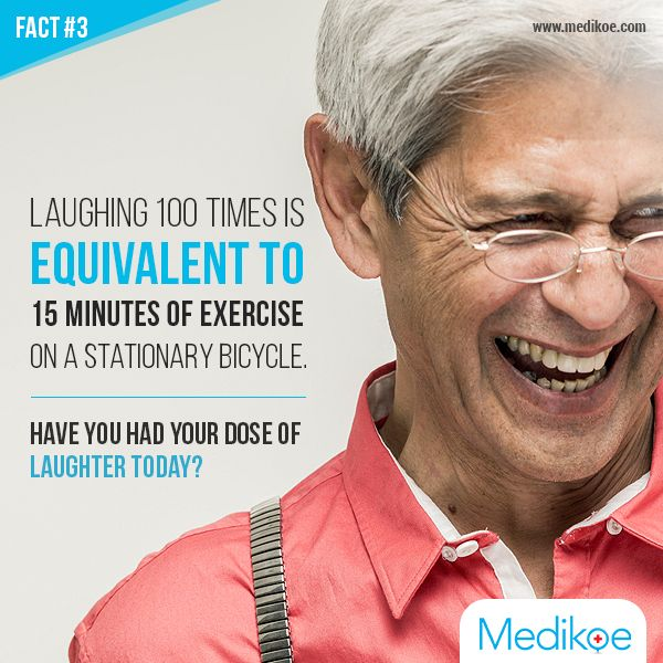 Fact#3 Laughing 100 times is equivalent to 15 minutes of exercise on a stationary bicycle. Download Medikoe app: http://bit.ly/20yM935 | Visit: http://www.medikoe.com/ #Fact #Health #Laughing #HealthyLife #Medikoe