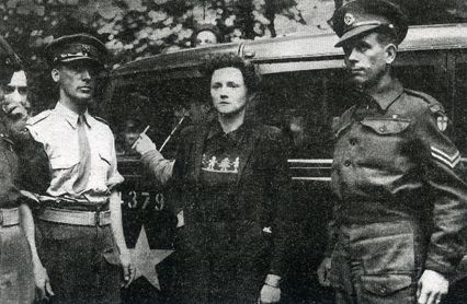 "Margaret Joyce (nee White), wife of Nazi propagandist William Joyce (""Lord Haw Haw""), at her arrest in 1945."