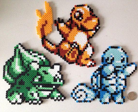 Large Retro Gameboy Pokemon Red Blue Starters Perler Sprites
