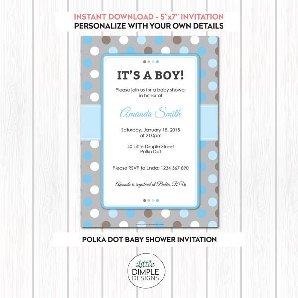 22 best printable party invitations by little dimple designs images polka dot baby shower digital printable invitation for a boy baby shower filmwisefo Choice Image