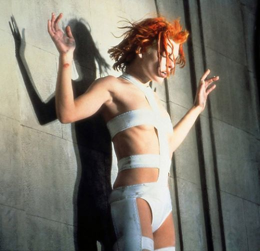 That moment before the jump...  Milla Jovovich as Leeloo in the Fifth Element