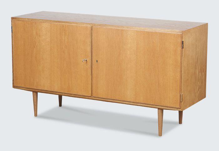 Long Oak side board cabinet two doors by Hundevad