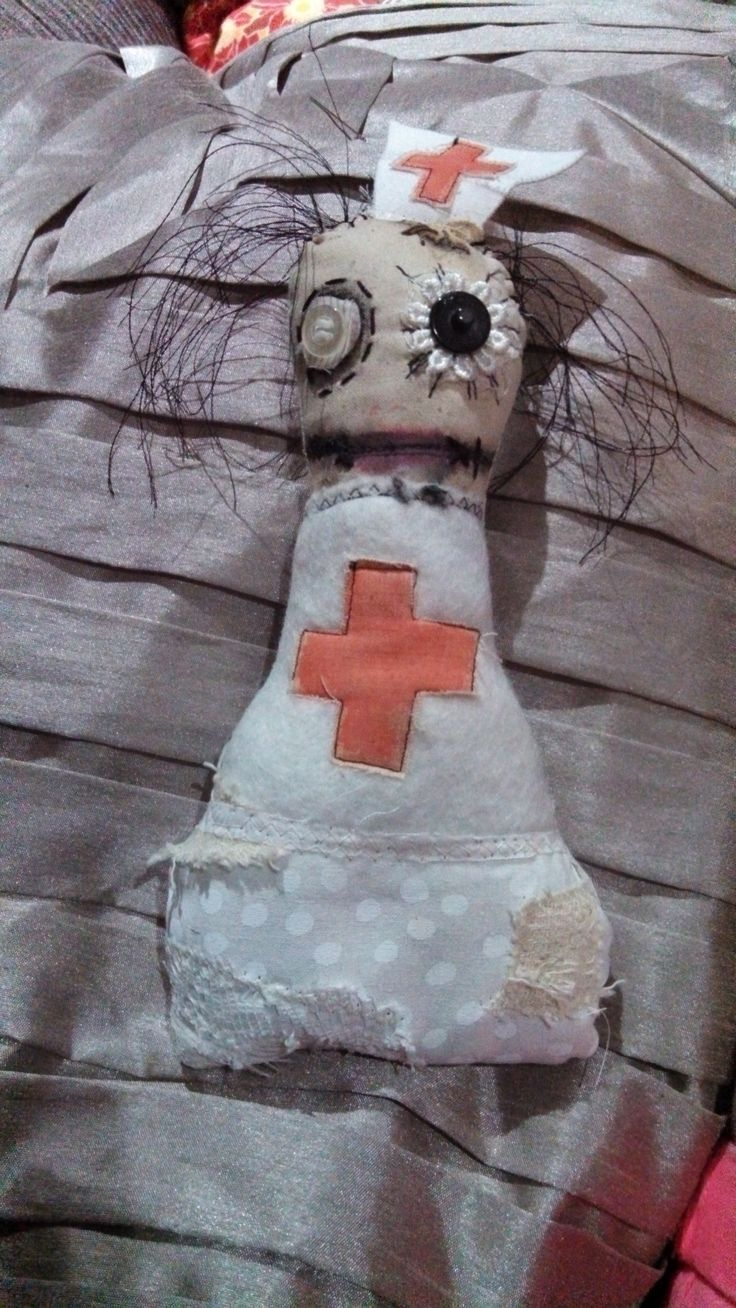 Little Ratchet.  Monster doll, softie, nurse, mixed media by Catherine Smith