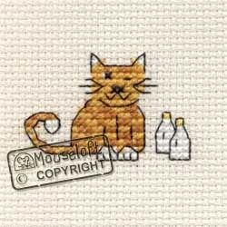 Tiddlers Cross Stitch Kit - Cat & Milk - Giggle Squiggle [COUNTED cross stitch - not my fav needlework but I could probably manage this. jh]