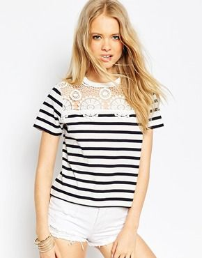 nike outlet canada one factory outlets ASOS T-Shirt With Crochet Neck Trim in Stripe | 2015 Clothes |  | Asos, Stripes and Crochet