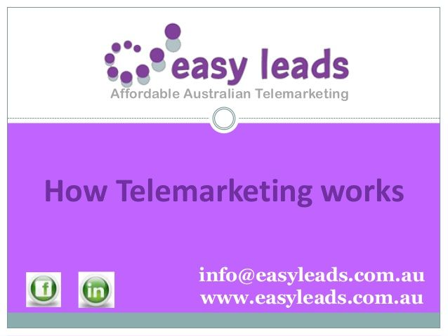 Easy leads is a leading Australian supplier of affordable telemarketing and lead era answers for customers Australia wide. We offer a straightforward yet viable administration intended to help little business get more business...easy.