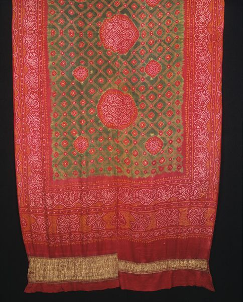 India, Jamnagar, saree, known as the veer bhet bhat, or 'brother's gift pattern', this type of saree is traditionally given by men to their sisters at the summer festival of raksha bandhan, late 19th c