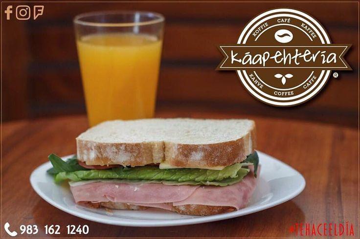 Ven y déjate consentir en tu #Káapehtería!  Disfruta de este delicioso sándwich acompañado de un jugo de naranja que #TeHaceElDía.  Servicio a domicilio al (983) 162 1240 Te esperamos!  #Promociones #KáapehCOMBO #Desayunos #Káapehtear #Káapehtería #TeHaceElDía #ConsumeLocal #Cafetería #Café #Alimentos #Postres #Pasteles #Panes #Cancún #Chetumal #México