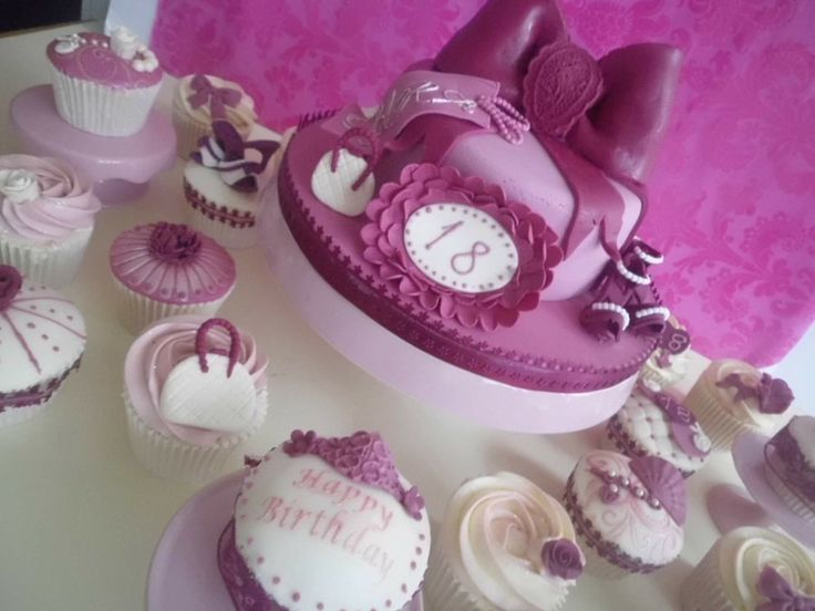 18th birthday cake and 18 cupcakes by Prettypetal  Purple  ~ 234811_Cake Decorating Ideas Tesco