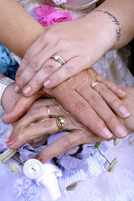 """(LOVE this via Offbeat Bride) """"Another moment was having a photo of three generations of married women taken with my mother and grandmother. I want to create a tradition of this, and hope to do it at my daughter's wedding someday. Since we are all emotional women, we all cried and had to try to keep our hands still for the shot."""""""