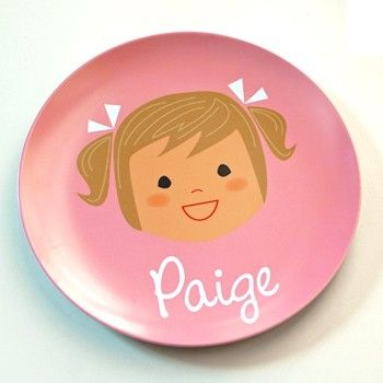 Personalized dinner plates with a caricature of your child. So cute!