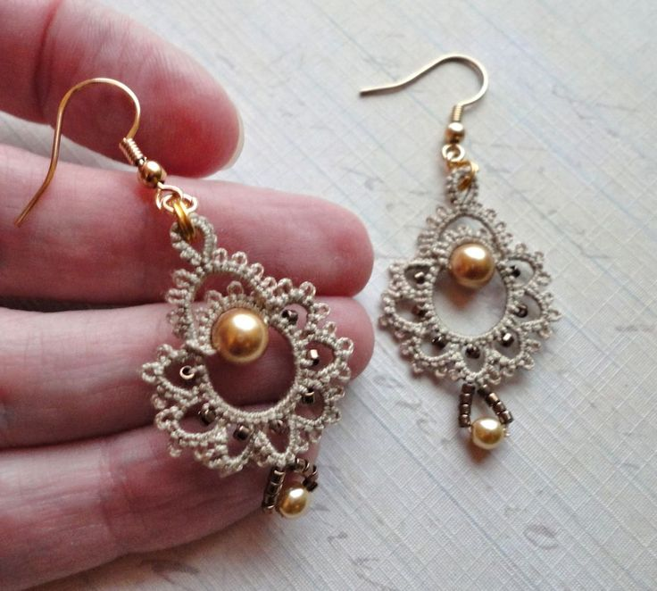 """The pattern, """"Giddy"""" earrings, is in the  Tatted Jewelry  book published by Annie's Attic . All of the patterns in  the book were des..."""