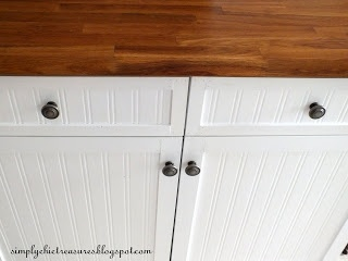 beadboard wallpaper cabinet redo-simply chic treasures: A Little More On The Process of How We Redid Our Melamine Cupboard Doors