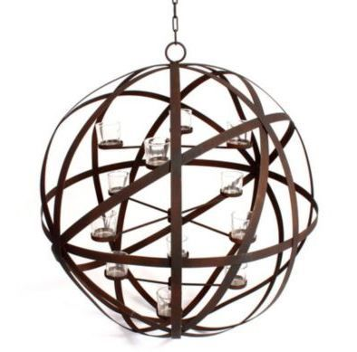 A lovely statement piece. We can just picture this candleholder hanging and lit in a living room, dining room or grand hall!