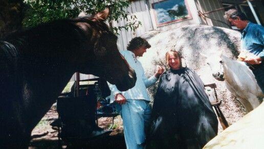 Haircutting on a farm #hair #hairstyling
