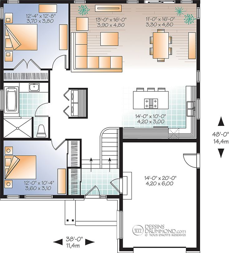 House plan maison contemporain contemporary rdc w3281 for Plan contemporain
