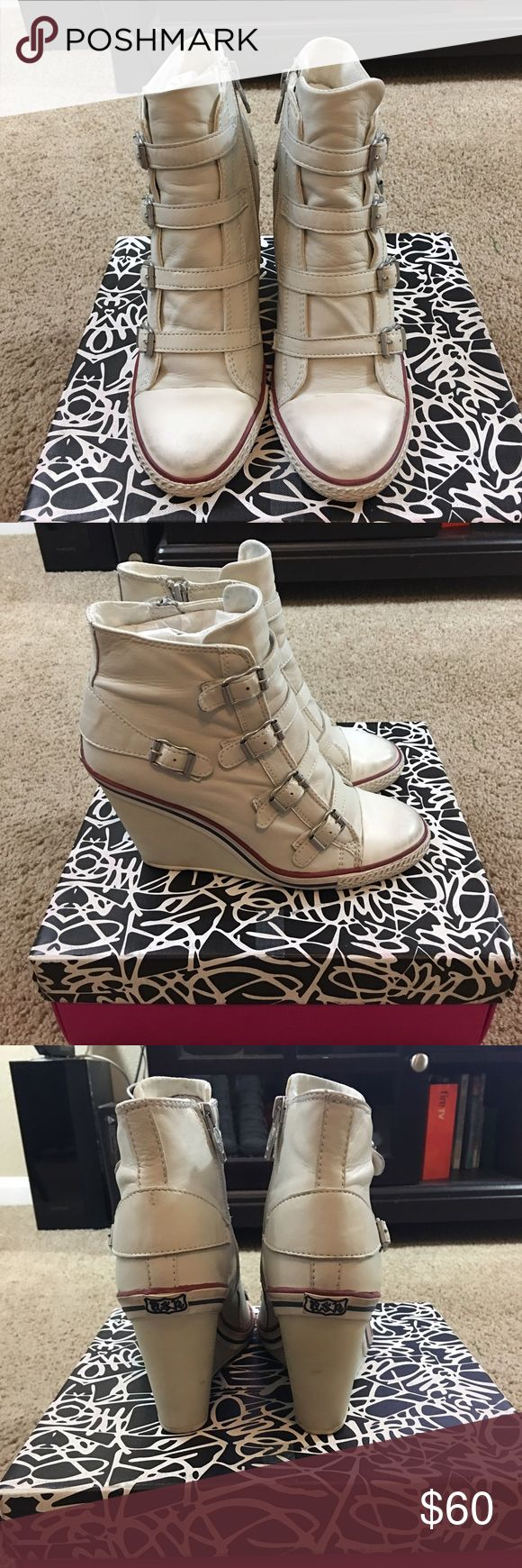 Ash white leather wedges in good used condition Ash white leather wedges in good used condition size 9 Ash Shoes Wedges