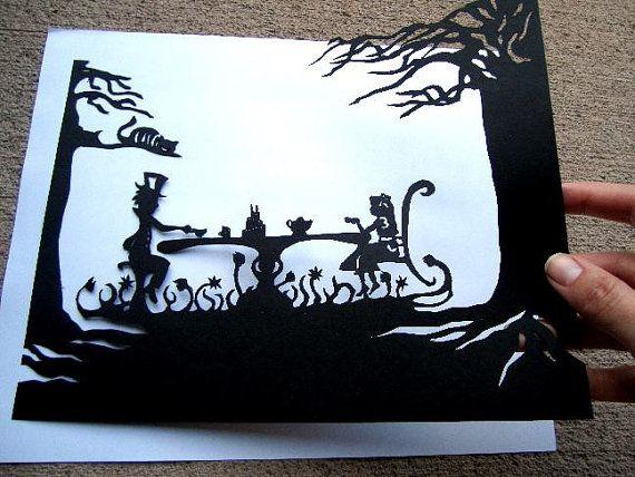 Papercut Silhouette, Alice In Wonderland, Paper Art, Hand