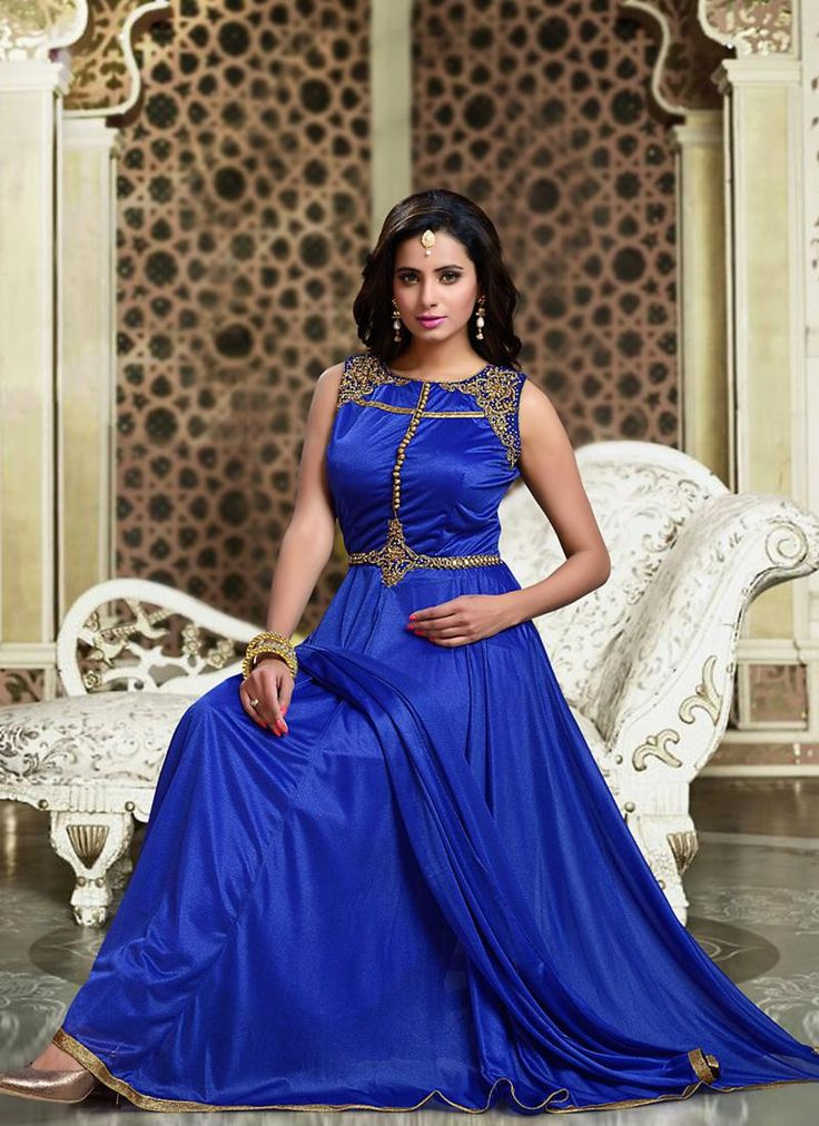 Art Silk Fabric & Deep Blue Color Attractive Churidar Style In Anarkali Look