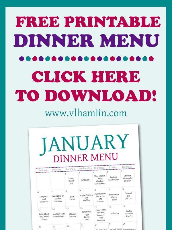 January 2019 Meal Calendar Dinner Meal Plan with Free Printable Menu   January 2019 | An