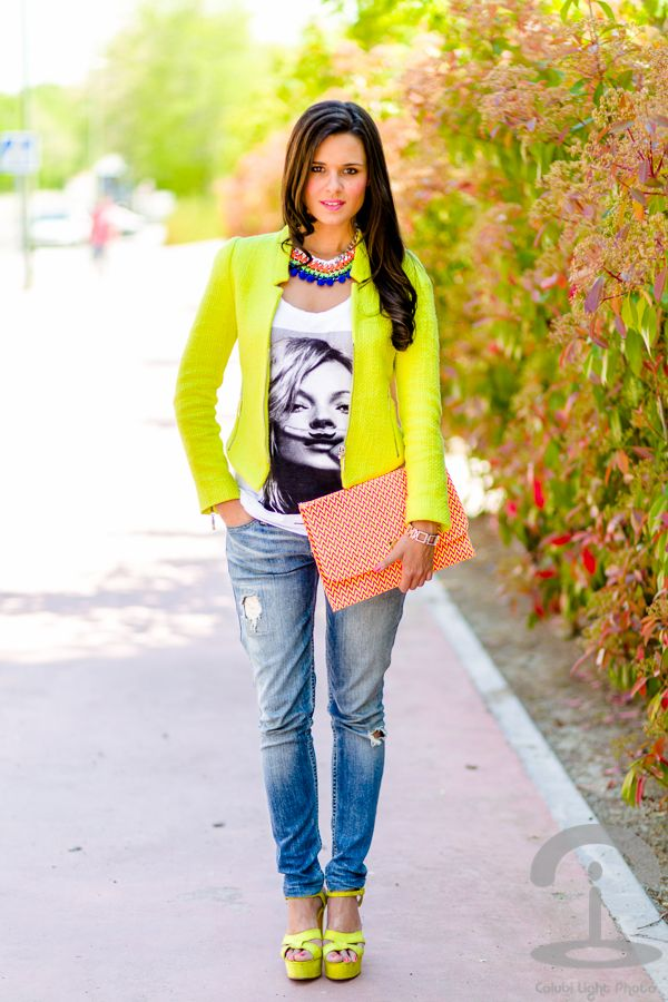 Neon Yellow Blazer, Graphic Tee, Boyfriend Ripped Cropped Jeans, & Neon Yellow Heels.