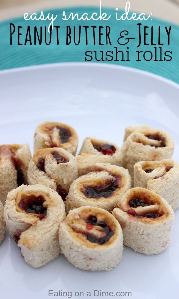 I have a super easy and fun after school snack idea - try these Peanut butter and Jelly Sushi rolls - the kids love them!