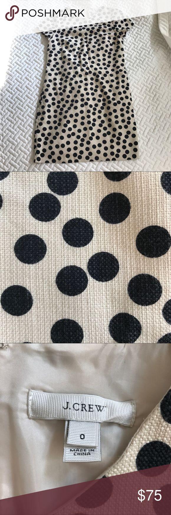 J Crew polka dot dress, size 0 J Crew tan short sleeve dress with black polka dots size 0 J. Crew Dresses