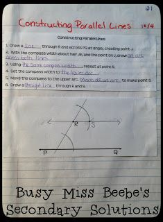 Busy Miss Beebe's Secondary Solutions: Geometry Interactive Notebook - The Second Unit