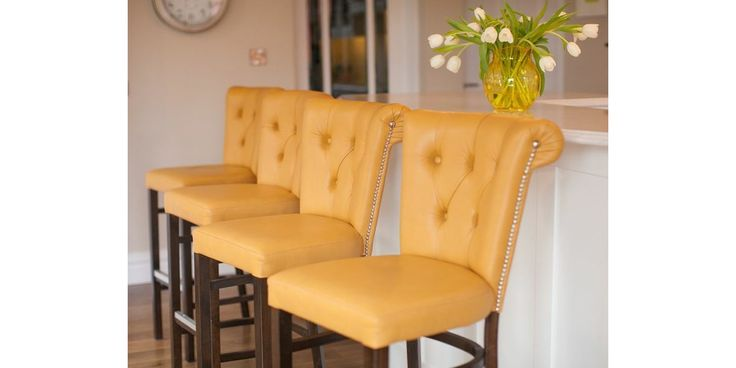 Leather upholstered high stools