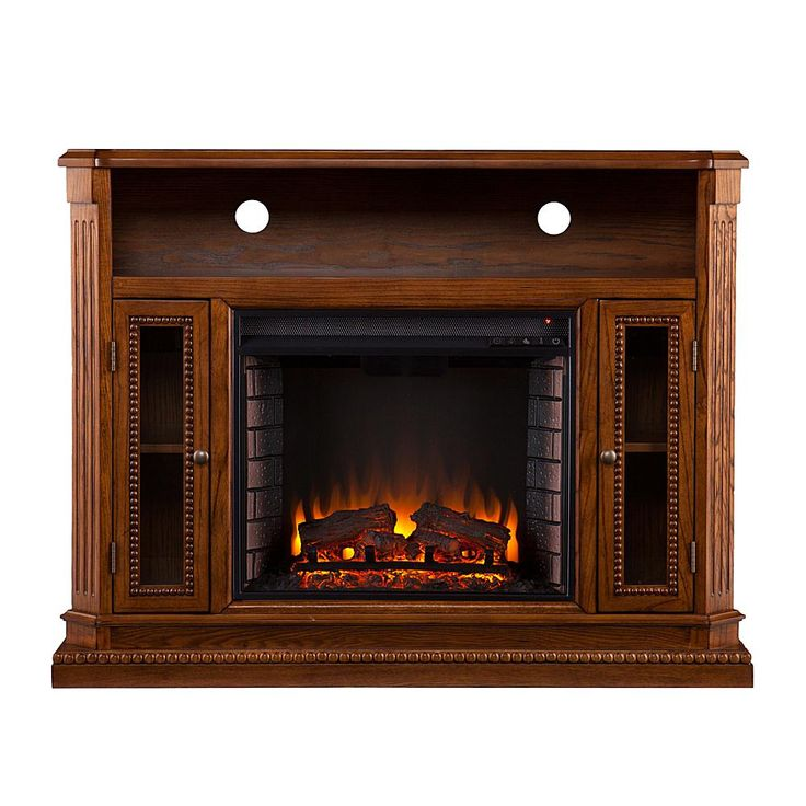 Home Marketplace Braintree Electric Media Fireplace - Rich Brown Oak