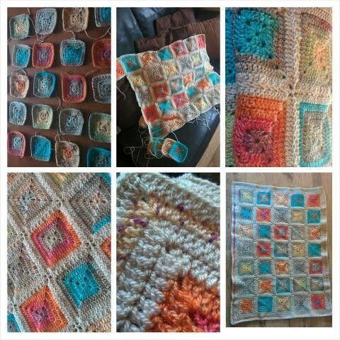 Solid granny square crochet blanket