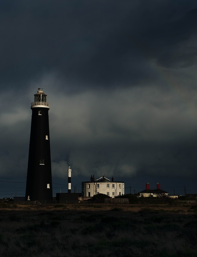 Dungeness Lighthouse headland on the coast of Kent, England 50.913333, 0.976111