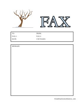A bare tree covered in snow represents winter in this seasonal fax cover sheet. Free to download and print