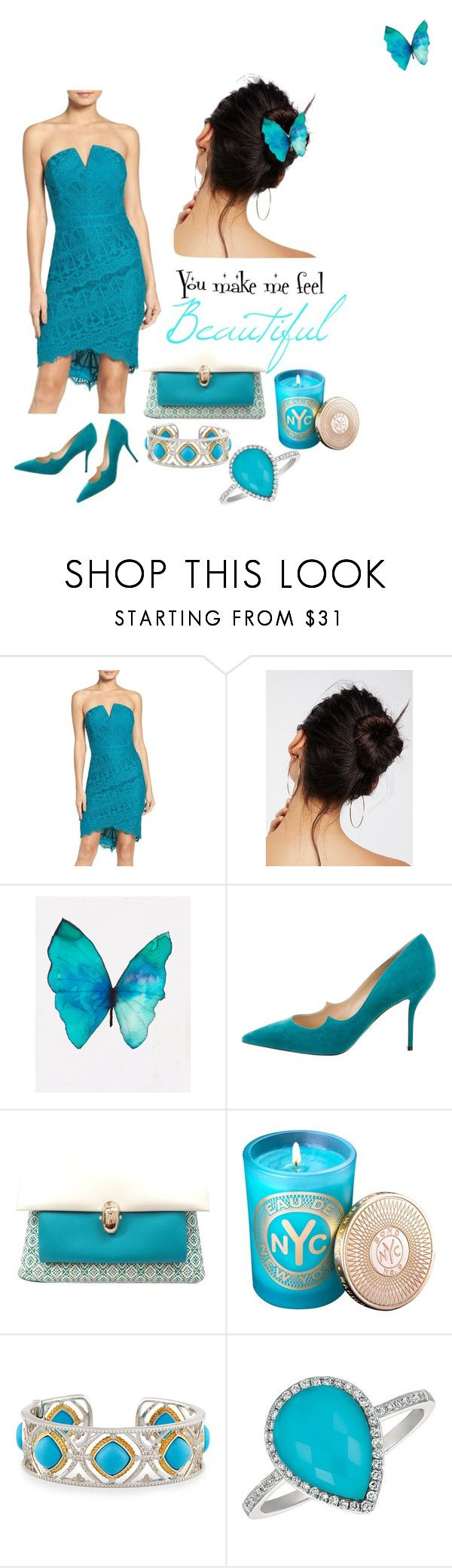 """Blue Bliss"" by uttarika-kumaran ❤ liked on Polyvore featuring Adelyn Rae, Free People, Paul Andrew, Christian Louboutin, Bond No. 9, JudeFrances and Morris & David"