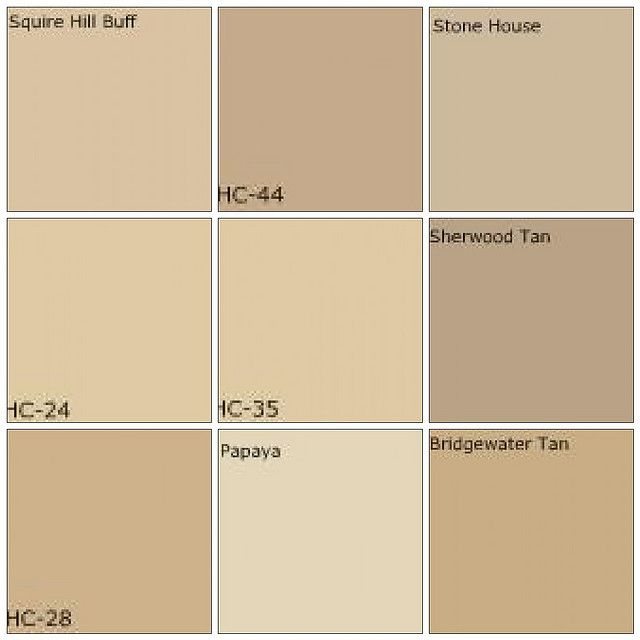 Beige / tan paint: Designers' favorite colors  All colors by Benjamin Moore:    Top row: Squire Hill Buff, Lenox Tan, Stone House    Middle row: Pittsfield Buff, Powell Buff, Sherwood Tan    Bottom row: Shelburne Buff, Papaya, Bridgewater Tan