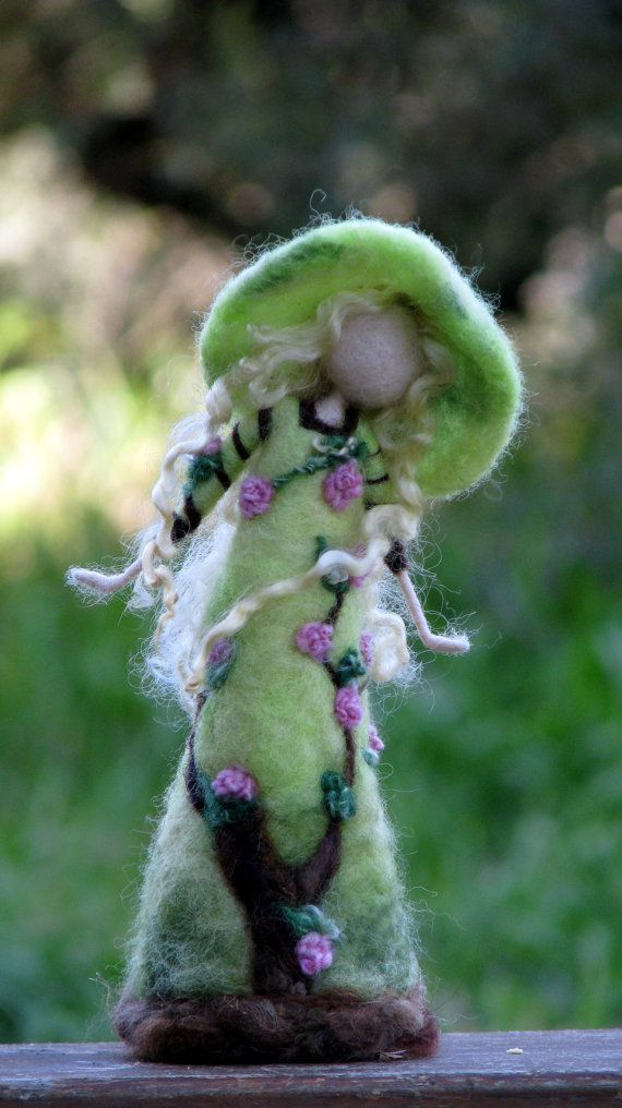 Waldorf inspired needle felted roses lady #needlefelted #doll #fairy #home_decor #gift #nature