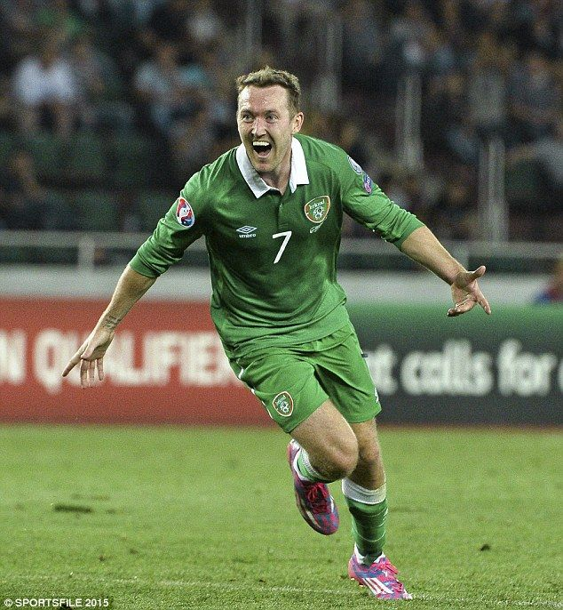 Aiden McGeady celebrates scoring for Republic of Ireland against Georgia