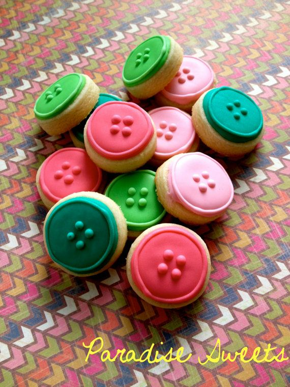 Button Sugar Cookies - on Etsy by Paradise Sweets, Inc. Perfect for baby showers and bridal showers! Cute as a button!