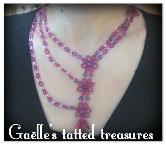 Lace tatted necklace and earrings parure by gaestattedtreasures