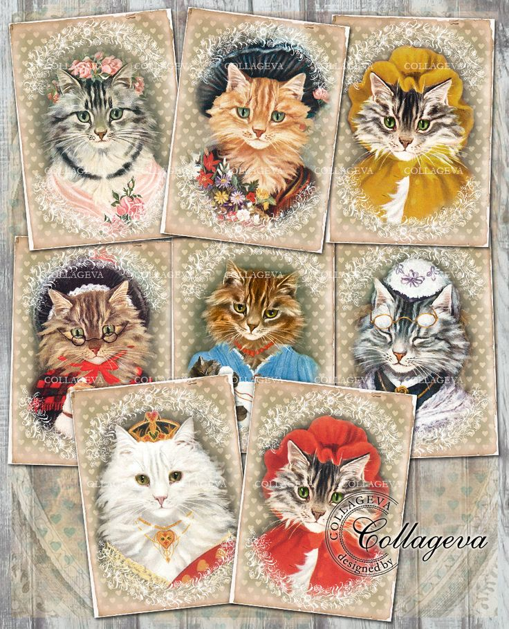 Cat Ladies Digital Tags Cards, Vintage Labels, Kitty Kitten, Victorian Dressed She-cats, Female Feline, Printable ACEO ATC Clipart (T007-a) by collageva on Etsy