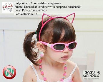 Idol Eyes zonnebril BabyWrapz2 roze   De BabyWrapz2 zwart baby & kinder zonnebril van Idol Eyes is de enige zonnebril ter wereld met verwisselbare pootjes en 2 hoofdbandjes. De zonnebril heeft een buigzaam rubberen montuur. Dat draagt niet alleen erg prettig, maar zorgt er ook voor dat de zonnebril praktisch onbreekbaar is. Idol Eyes geeft dan ook maarliefst 3 jaar garantie!