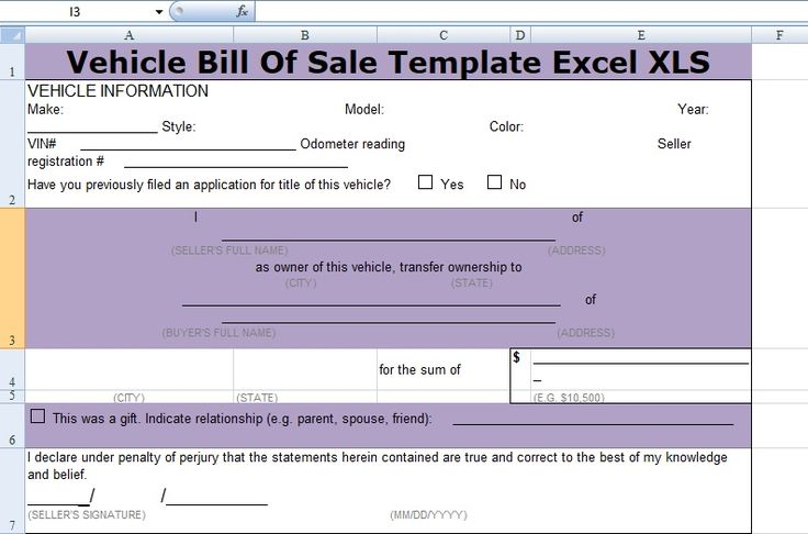 Get Vehicle Bill Of Sale Template Excel XLS – Excel XLS Templates